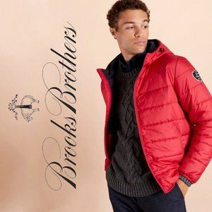 Brooks Brothers Red Quilted Hooded Puffer Jacket